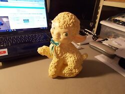 Vintage Baby Toy- Squeeky Lamb With Blue Painted Eyes And Bow