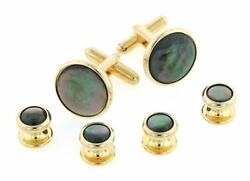 Smoked Mop Yellow Gold Plated Studs And Cufflinks Set