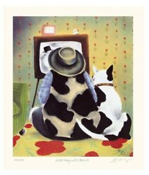 Mackenzie Thorpe Watching With Butch Hand Signed Numbered Serigraph Art Print
