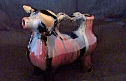 Red Ware Pottery Vintage Cow Bull Creamer Pink And Yellow Drip Glaze