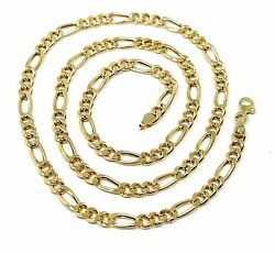 18k Gold Figaro Gourmette Rounded Chain 4 Mm Width 24 Alternate 3+1 Necklace