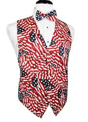 Waving Flags Big And Tall Tuxedo Vest And Bow Tie Set