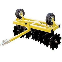 Disc Cultivator Harrow - Tow Behind Atv Utv And Compact Tractor - 4 Ft Cut Width