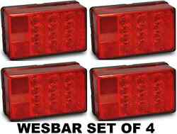Wesbar Set Of 4 Four Led Waterproof Trailer Taillight 4x6 Low Profile 8-funct