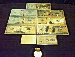 Full Gold Banknote Set Mint Condition 15102050100 W/ Certificate+moreq