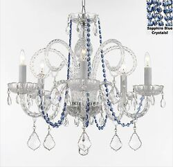 Authentic All Crystal Chandelier W/ Sapphire Blue Crystals H25andrdquo W24andrdquo