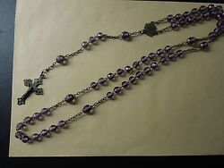 N35 Rosary Art Nouveau French Sterling Purple Cristal Beads See Desc
