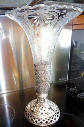 Antique Monumental Size Cut Crystal Vase With Silver Repose Base Holder