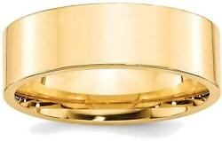 14k Yellow Gold 7mm Standard Flat Comfort Fit Band Ring