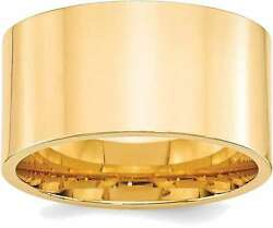 14k Yellow Gold 12mm Standard Flat Comfort Fit Band Ring