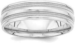 14k White Gold Standard Comfort Fit Fancy Band Ring Wb104s