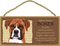 Advice from a Boxer 5 X10 hanging Wood Sign made in the USA