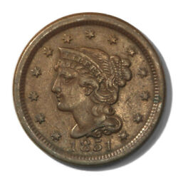 Usa Large Cent Braided Hair 1c 1851 Extra Fine Newcomb 18