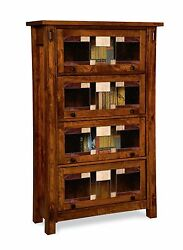 Amish Craftsman Barrister Bookcase Solid Wood Leaded Glass Doors 40 X 64