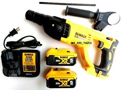 New Dewalt Dch133 20v Sds 1 Rotary Hammer Drill,2 Dcb205 5.0 Battery, Charger