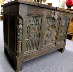 Antique Oak Trunk W/ Carved Madonna And Child.gothic Revival. Made In Belgium 1900