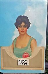 Circa 1950's Salesman Sample Diecut And Embossed Calendar Pretty Lady With A Rose