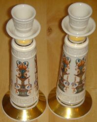 Lenox Pair Lido 2 Candlestick Holders Gold Trim 8 quot; Tall For Holidays USA Made