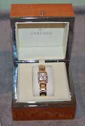CONCORD DELIRIUM LADIES WATCH 18K YELLOW GOLD DIAMOND BEZEL MIB UNWORN