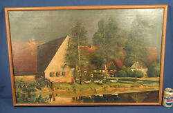Oil Painting On Canvas Gertrud Staats Signed Lr 38-1/2 X 25 Landscape W/ Ducks