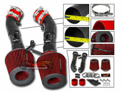 Matt Black Cold Air Dual Intake + Red Filter For 09-20 370z Fairlady Z34 3.7l