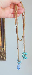 Antique Victorian Gold Filled Fancy Chain Turquoise Gemstone Lariat Necklace