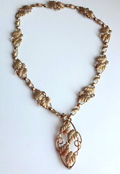 Antique Victorian Gold Filled Fancy Leaves Chain Pin Brooch Pendant Necklace