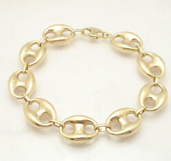16mm Mens Puffed Mariner Link Chain Bracelet Real 10k Yellow Gold 19.9gr