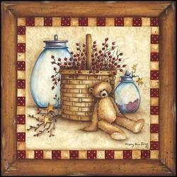 Art Print, Framed Or Plaque By Mary Ann June - Berries, Stars And Jars - Mary171-r