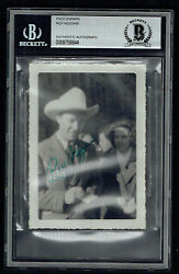 Roy Rogers Signed Autograph 3x4.5 Vintage 1940's Snapshot Photo Bas Slabbed