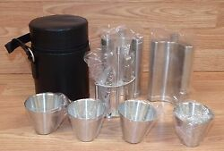 10 Piece Stainless Steel Travel Bar Barware Set W/ Black Leather Case New/read