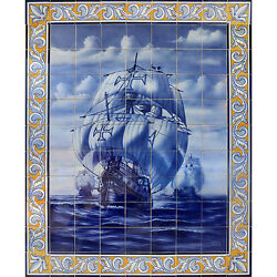 Portuguese Hand Painted Azulejos Tiles Mural Panel AGES OF DISCOVERY SHIP VESSEL