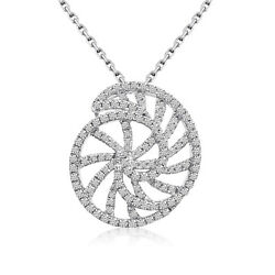 14k White Gold Diamond Shell Pendant With 18 Chain
