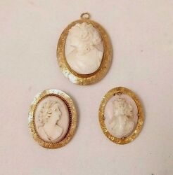 3 Antique 10 K Yellow Gold Carved Shell Cameo Pins/pendants
