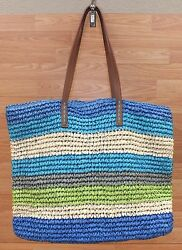 Genuine Old Navy Green Blue Teal & Tan Straw Beach Bag  Tote Only **READ**