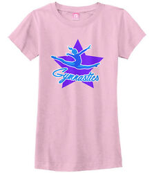 Gymnastics Star Girls Fitted T-Shirt Cute Gymnast Leaping Pride Gift