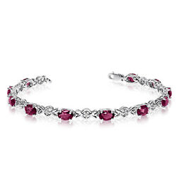10K White Gold Oval Ruby and Diamond Bracelet
