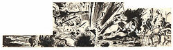 Knights Getting Blown Up - Story Illo In Ink - Early 1970's Art By Mike Kaluta