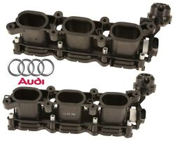 Pair Set Of 2 Left And Right Intake Manifold Air Equalizer Housing For Audi A4 A6