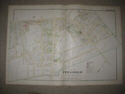 Huge Masterpiece Antique 1889 Freehold New Jersey Handcolored Map Superb Rare Nr