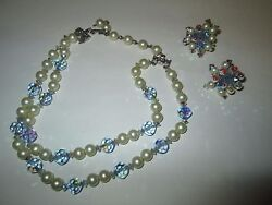 Vintage Hobe Signed Set Necklace And Clip Earring Costume Jewelry Blue Prism