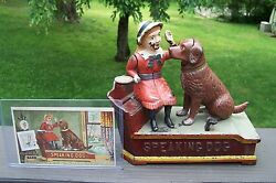1885 Antique Speaking Dog Mechanical Bank With Trading Card Authentic
