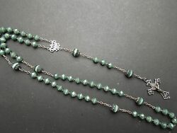 N684 Art Nouveau Rosary French Sterling Green Cristal Beads See Descr