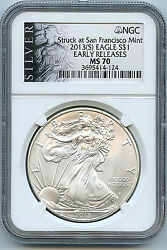 2013 S Silver American Eagle Dollar Ms70 Ngc Er Certified Coin San Francisco C11