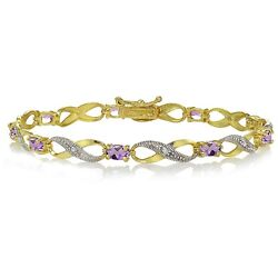 Gold Tone Over Sterling Silver Amethyst And Diamond Accent Infinity Bracelet