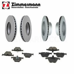 For Bmw E60 E61 525xi Front And Rear Vented Disc Brake Rotors Wih Pads Zimmermann