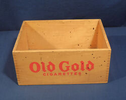 Vintage Antique Gold Cigarettes Wooden Advertising Box Crate 5 Tall 11 X 8.5