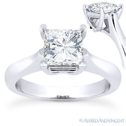 Square Cut Forever One D-e-f Moissanite 14k White Gold Solitaire Engagement Ring