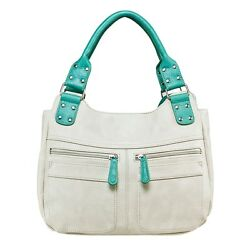 VISM BWC002 DESIGNER HANDGUN CONCEALED CARRY PURSE HOBO FAUX LEATHER BAG WHITE