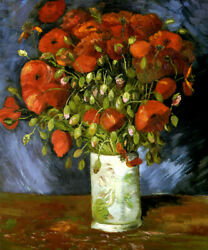 Vase With Poppies Flowers 1886 Impressionism Painting By Vincent Van Gogh Repro